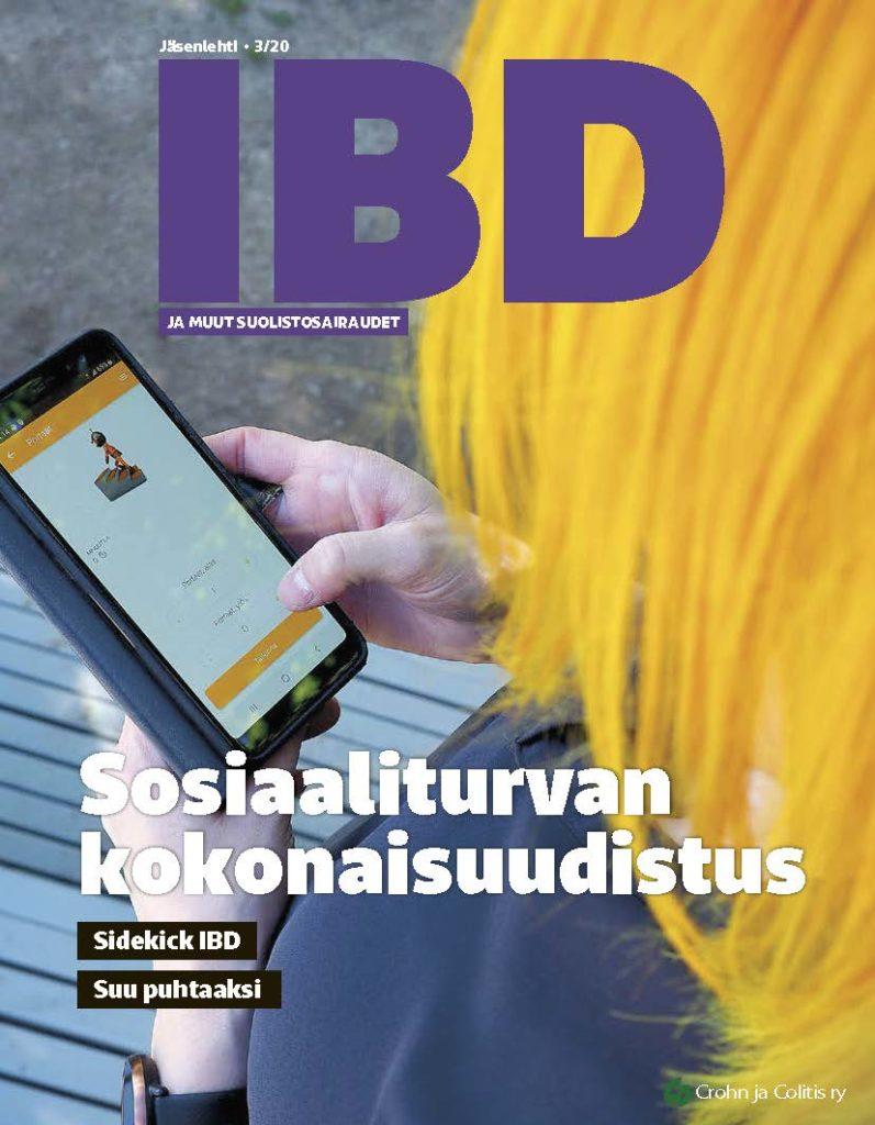 Jäsenlehti IBD:n kansilehti numerosta 3/20. Olan yli kuvattu keltahiuksinen henkilö pitää kädessään puhelinta, jonka ruudulla on Sidekick-sovellus avoinna.