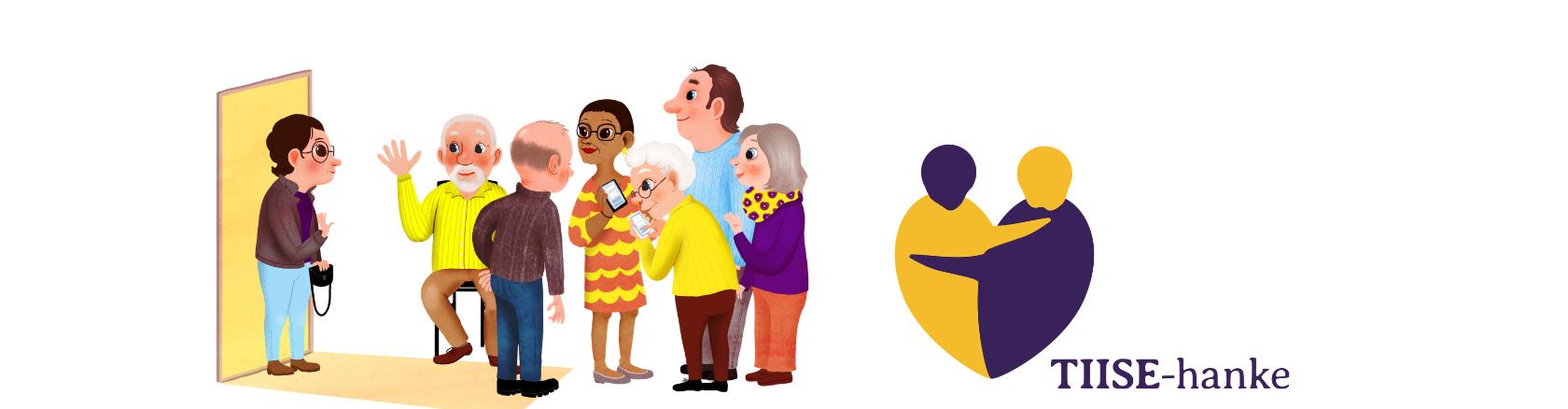 Kuvituskuvassa ikäihmisiä juttelemassa. Tiise-hankeen sydämenmuotoisessa logossa kaksi ihmistä halaa.