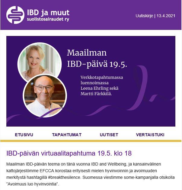 Kuvakaappaus uutiskirjeestä. Alussa on banneri Maailman IBD-päivästä.