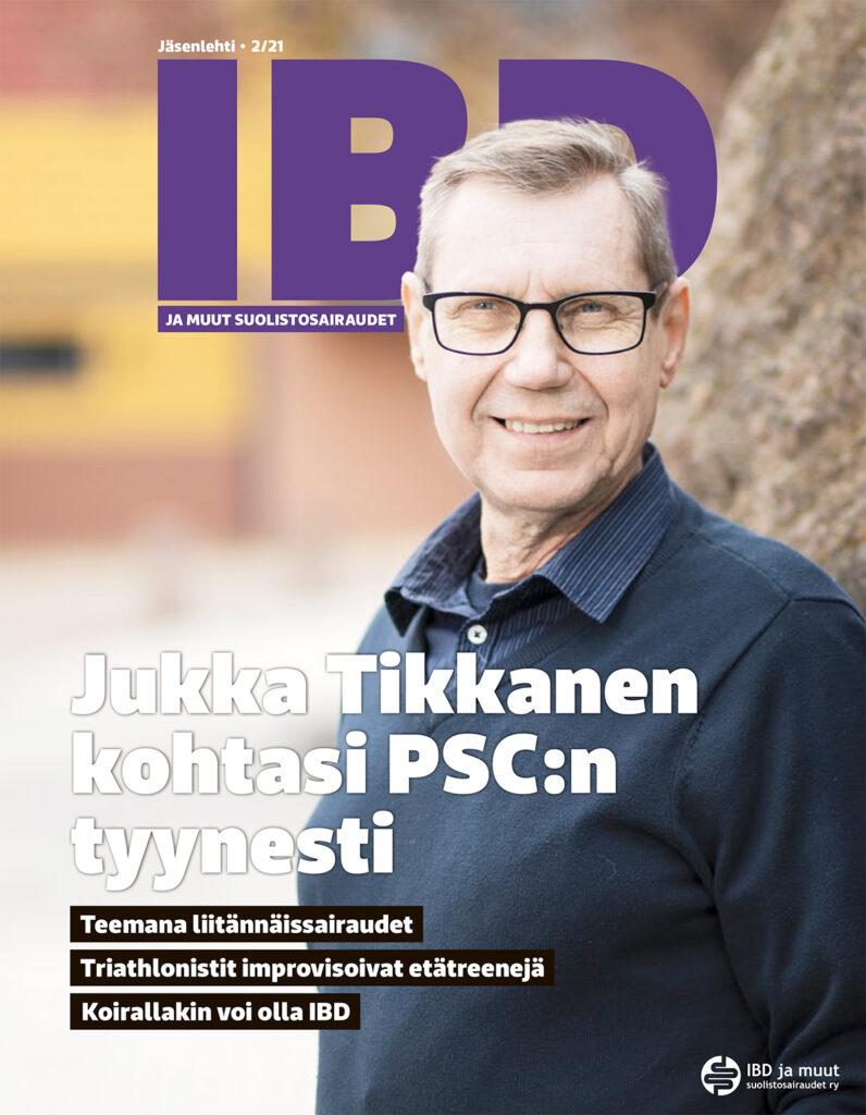 IBD-lehden kannen kuvassa Jukka Tikkanen, joka sairastaa IBD:n lisäksi maksansiirtoon johtavaa PCS:tä. Kuva Eeva Anundi.